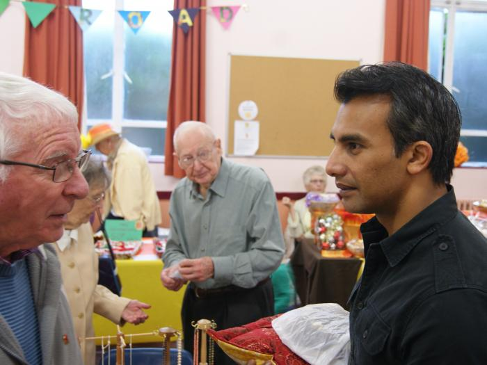 Sabet Choudhury meets people at the Autumn Fayre